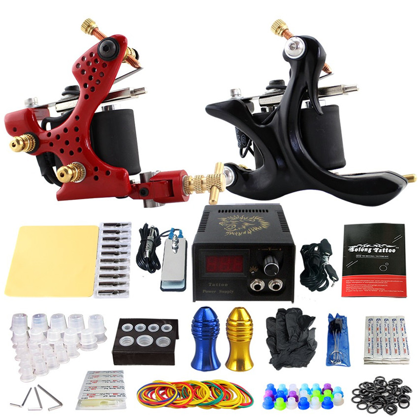 TA01  Tattoo Kits 2Pcs Red Black Coil Tattoo Machine Tattoo Power Supply  Footswitch  Grip Practice Skin Needles Cleaning Tools black red yellow blue skull design stainless steel tattoo foot pedal switch footswitch power supply