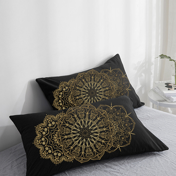 Custom Pillow Case Pillowcase 50x70 50x75 50x80 70x70 Decorative Pillow Cover golden round on Black Bedding Drop Shipping image