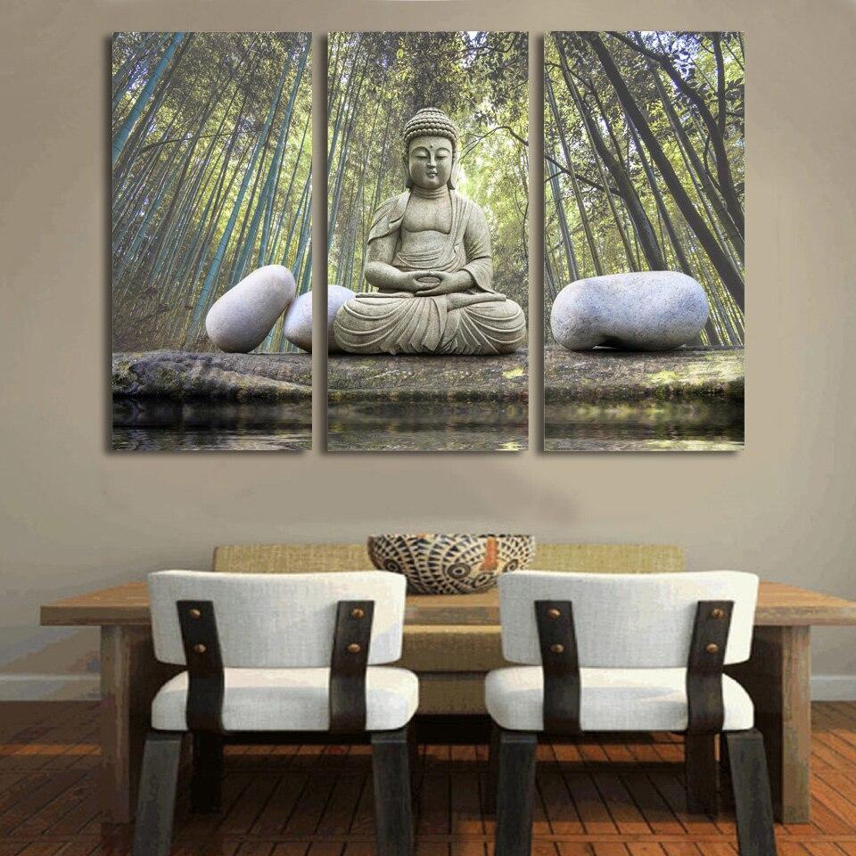 HD Gedruckt Buddha stein bambus wald Malerei Leinwanddruck raumdekor ...