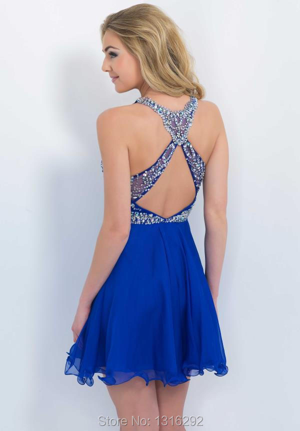 a5d1a90c6f Gorgeous Crystal Beaded Top Backless Royal Blue Homecoming Dresses 2015  Girl 8th Grade Graduation Dress-in Homecoming Dresses from Weddings    Events on ...