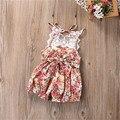 New baby floral romper do bebê roupas das meninas do vintage floral impresso macacão de bebê de natal boutique da criança outfit