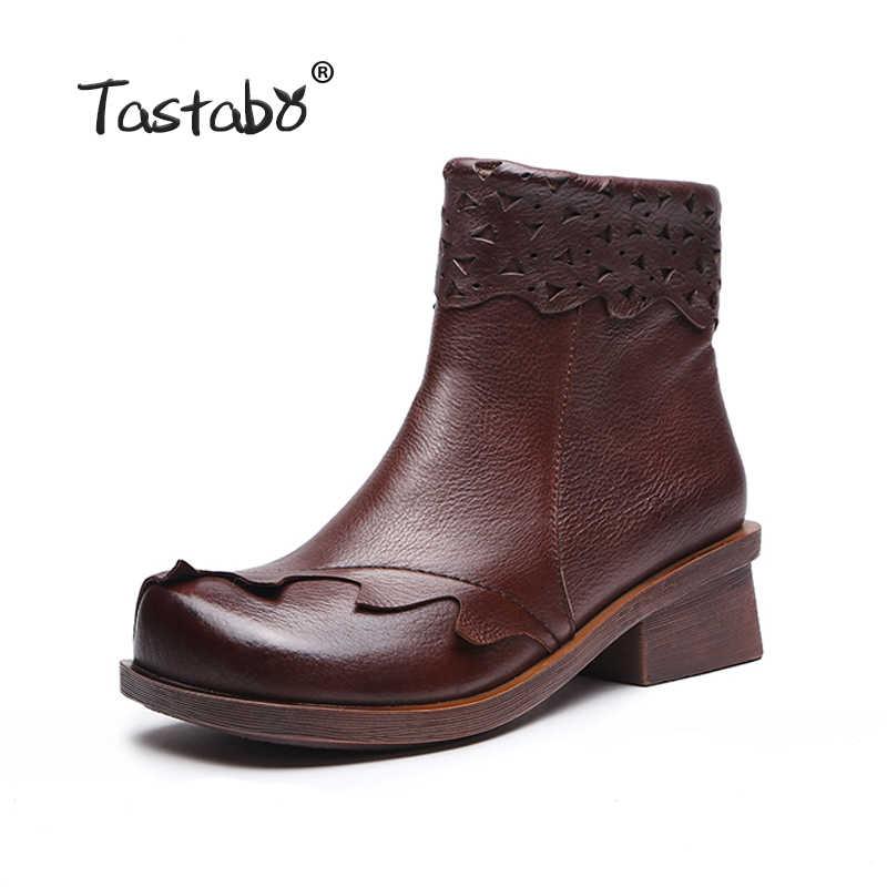 Tastabo Hakiki Deri Çizmeler Kadın Yumuşak 2018 Sonbahar Moda siyah ayakkabı Kadın Kare Yüksek Topuklu Çizmeler Kadın