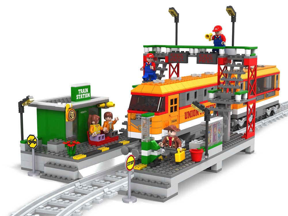 Transportation Building Block Sets Compatible with lego Train waiting station 3D Construction Bricks Educational Hobbies Toys ausini building block set compatible with lego transportation train 003 3d construction brick educational hobbies toys for kids
