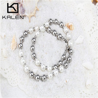 2015 KALEN White Simulated Pearl And Silver Stainless Steel Beaded Necklace