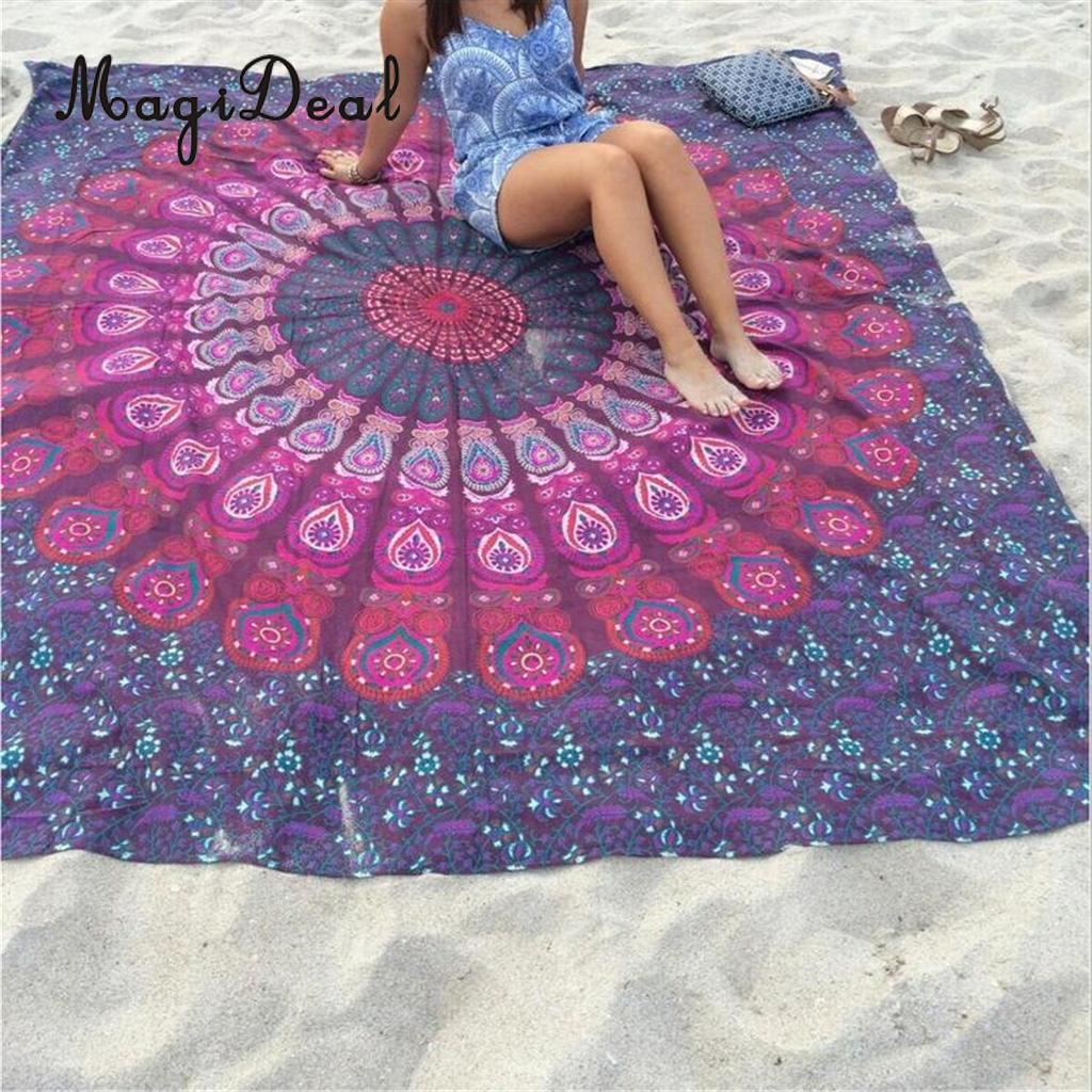 MagiDeal High Quality Square Peacock Tapestry Throw Blanket Rug Yoga Mat Beach Towel-Purple Pad Women Outwork Fitness Accessory  yoga accessories yoga mat   The Best Yoga Mats   My RECAP After Testing them All   Sweat Proof, Best for Hot Yoga, more MagiDeal High Quality Square Peacock Tapestry Throw Blanket Rug font b Yoga b font font b