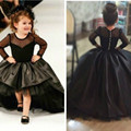 Ball Gown Black Long Sleeve Flower Flower girls Dresses for Wedding 2016 Cute Floor Length Princess Gown Puff Tulle