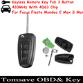 Free Shipping Original Size For Ford Focus/Mondeo/Fiesta 3 Buttons Replacement Keyless Flip Folding Remote Key 433MHz 4D63 Chip