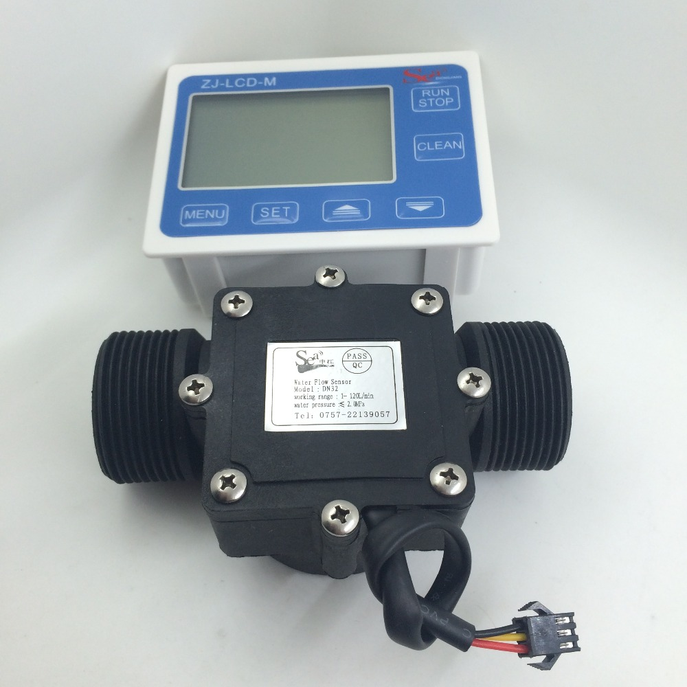 Water Fuel Flow Sensor Meter Indicator Counter + LCD Display Quantitative Controller DN32 G1-1/2 G1.25 1-120L/min