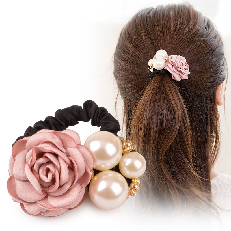 M MISM Girls Pearl Beads Elastic Hair Band High Quality Flower Gum for Hair Accessories for Women Rubber Band Luxury Scrunchy noble faux pearl flower elastic hair band for women