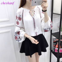 2017 Cheshanf Ethnic Boho Embroidered Blouse Summer Autumn Women Long Sleeve Blouse Ladies Girls Pullover Tops