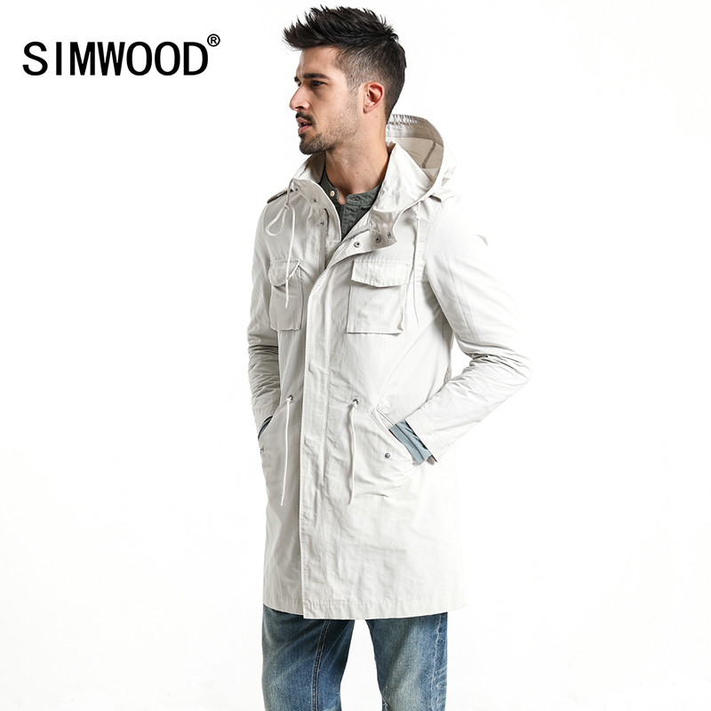 SIMWOOD 2019 Spring New Long Jackets Men Slim Fit Fashion Pocket Hooded   Trench   Coats High Quality Brand Clothing Overcoat 180063