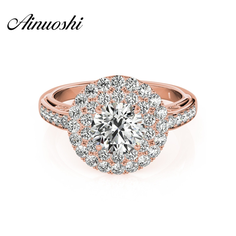 AINUOSHI Trendy 925 Sterling Silver Rose Gold Color Wedding Engagement Rings 1 Carat Round Cut Women Rings Princess Jewelry Gift 6pcs of stylish color glazed round rings for women