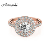 AINUOSHI Trendy 925 Sterling Silver Rose Gold Color Wedding Engagement Rings 1 Carat Round Cut Women Rings Princess Jewelry Gift