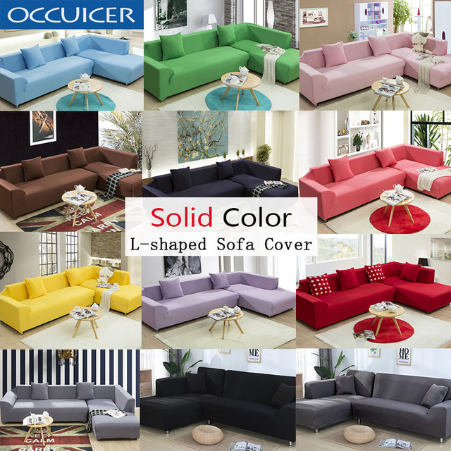 2PC L Shaped Sofa Cover Solid Color Sofa Couch Cover for ...