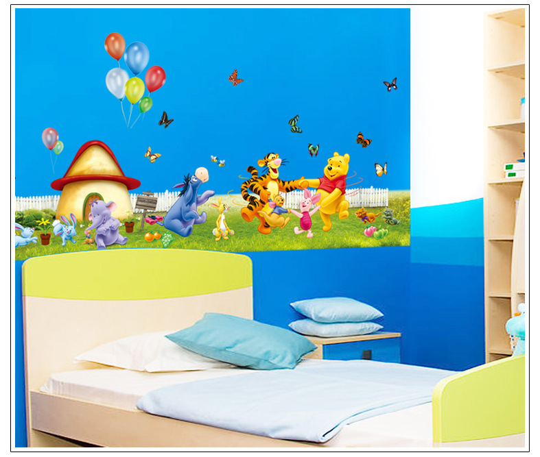 ... 1Pcs Winnie The Pooh Wall Stickers Cartoon Home Decor Large Wall  Stickers For Kids Rooms DIY Part 95