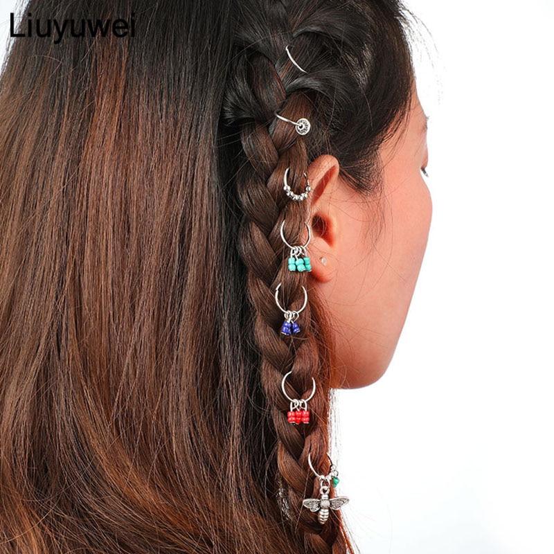 7 Stks/set Boho Haarspelden Meisjes Haar Hairwear Gevlochten Bee Cirkel Haar Sieraden Bruiloft Decoratie Ontwerp Cirkel Haaraccessoires