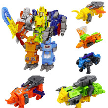 5 In 1 Action Figure Dinosaur Rangers Robot Children DIY Educational Deformation Figures Assembly Megazord
