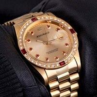 Mejor Relojes de marca de calidad REGINALD para mujer, reloj de pulsera de cuarzo Unisex con calendario de gemas de diamantes de acero completo de lujo para hombre