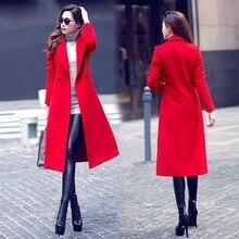Новый Для женщин Повседневное одноцветное осень-зима шерстяные одежда; пальто смесь Топ blusas одной кнопки плащ свободно с длинным рукавом большой Размеры