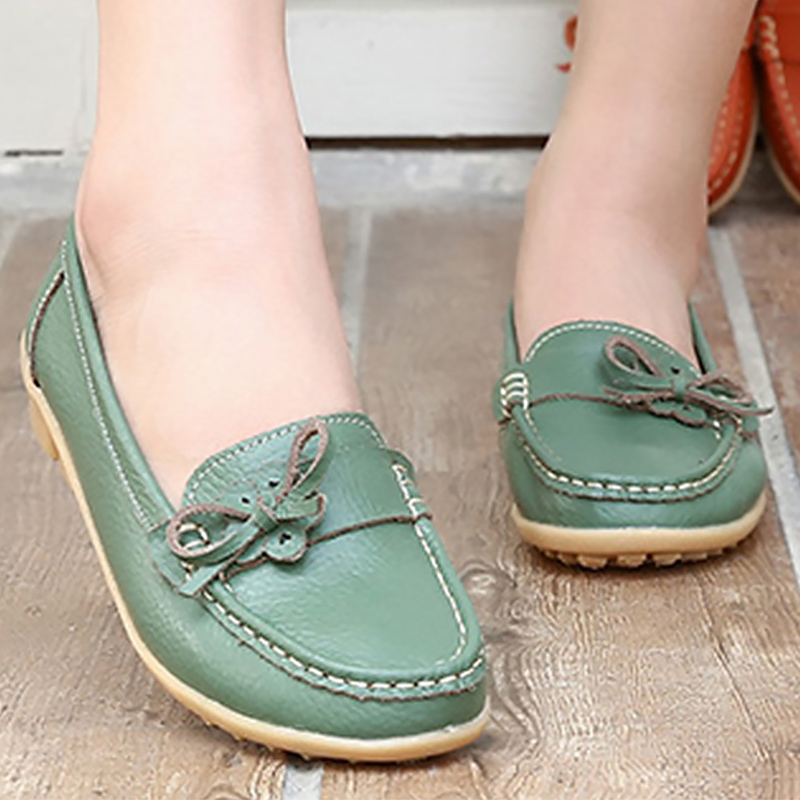 Slip on shoes for women casual genuine leather shoes butterfly knot loafers flats sneakers woman shoes plus size 35-41 summer slip on shoes women oxfords shoes loafers flats woman casual flat shoes high quality plus size 35 40