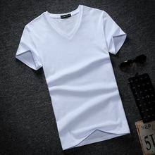 Aliexpress china cheap wholesale Summer 2016 new men V neck Slim fashion casual Pure color short-sleeved T-shirt