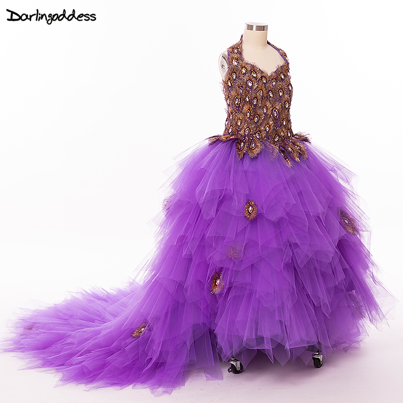 Purple Peacock   Flower     Girl     Dresses   For Weddings Party   Dress   For   Girls   Long Train Lace Up Back Kids First Holy Communion   Dresses