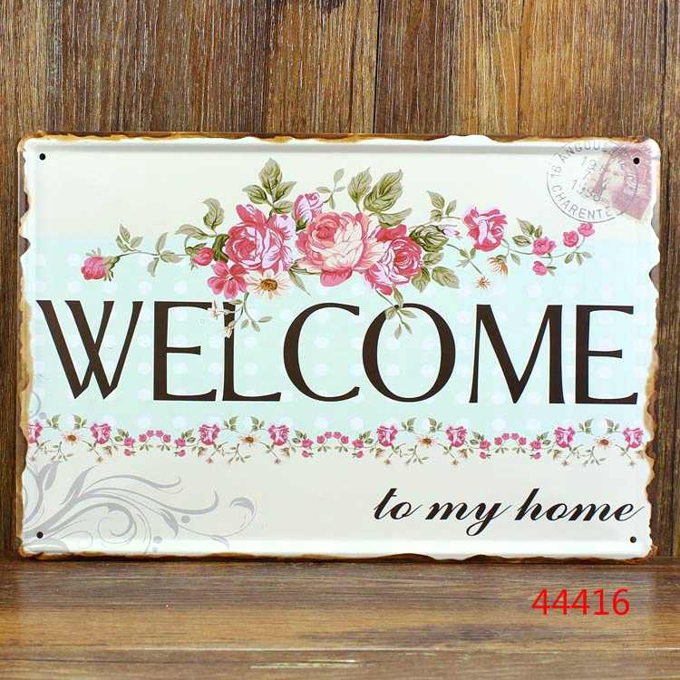 20x30cm welcome to my home iron metal poster Tin sign plate wall decoration vintage iron painting