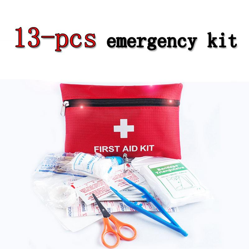 13-piece Car Set Portable Emergency Kit Outdoor Tool First Aid Survival Kit Home Medical Kit Camping Travel Treatment Pack Set