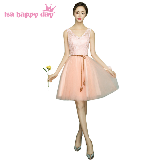 birthday bridal girl peach color v neck ball gown dress party ...