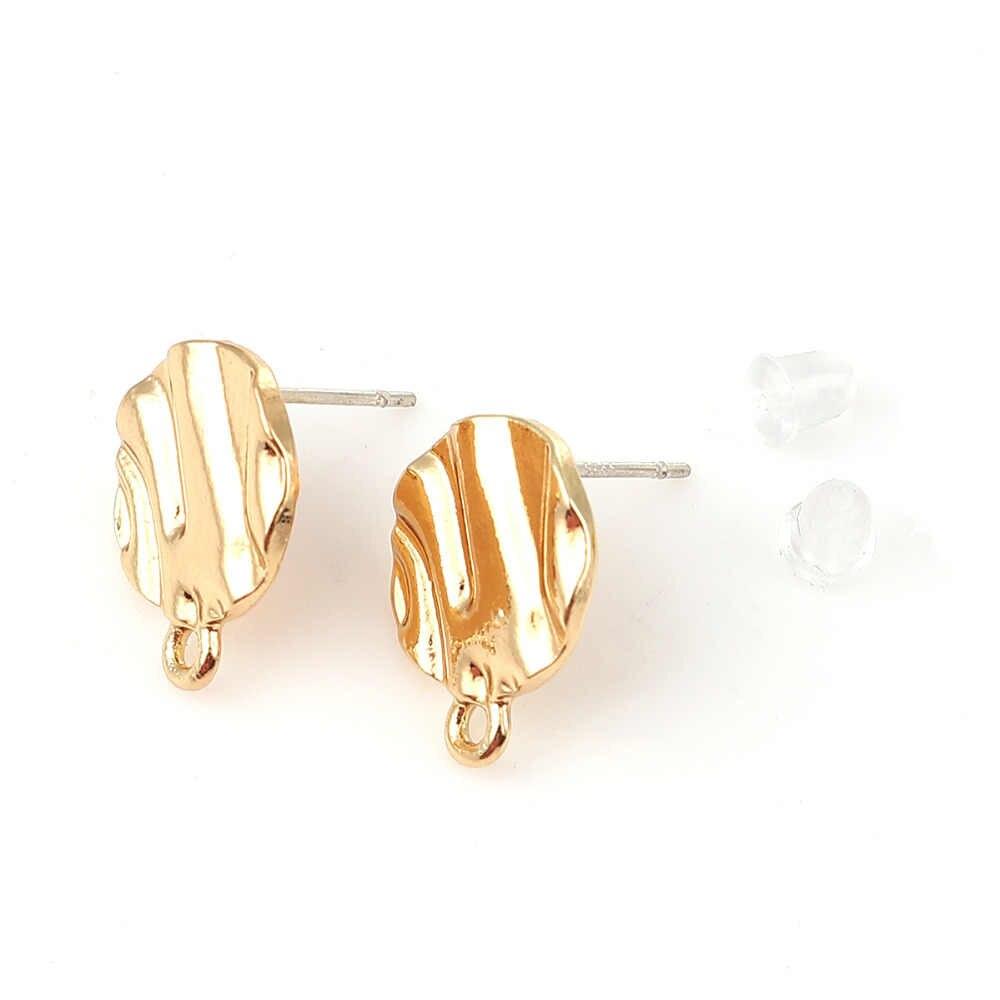 DoreenBeads אבץ מבוסס סגסוגת DIY אוזן הודעה עגילי ממצאי עגול סגנונות זהב לולאה, הודעה/חוט גודל: (21 מד), 6 PCs