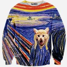 2016 Fall 3d sweatshirts men 3D Full Sleeve Sweatshirts male 2016 Winter personality Fake fashion Print Sweatshirt free shipping