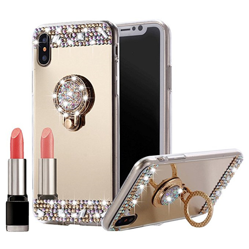 For iphone 5 5s 6 6s 7 8 Plus phone case Mirror Rhinestone Ring cover bumper For apple iphone X XR XS 11 Pro Max case telefon