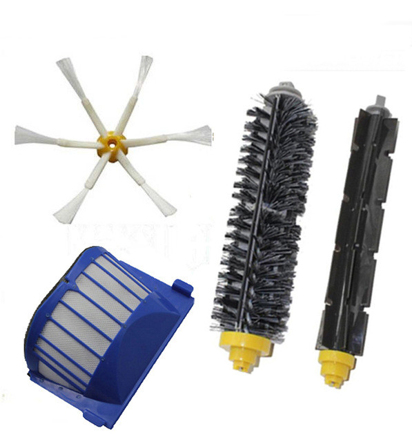 Can Track Bristle & Flexible Beater & Armed Brush & Aero Vac Filterfor iRobot Roomba 600 Series 620 630 650 660 aero vac filter bristle brush flexible beater brush 6 armed side brush for irobot roomba 600 series 620 630 650 660 vacuum