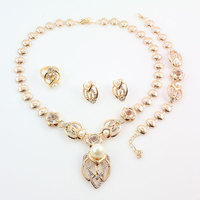Gold Color Imitation Pearl Wedding Costume Necklace Earrings Sets Fashion Romantic Clear Crystal Women Party Gift Jewelry Sets Jewelry & Watches