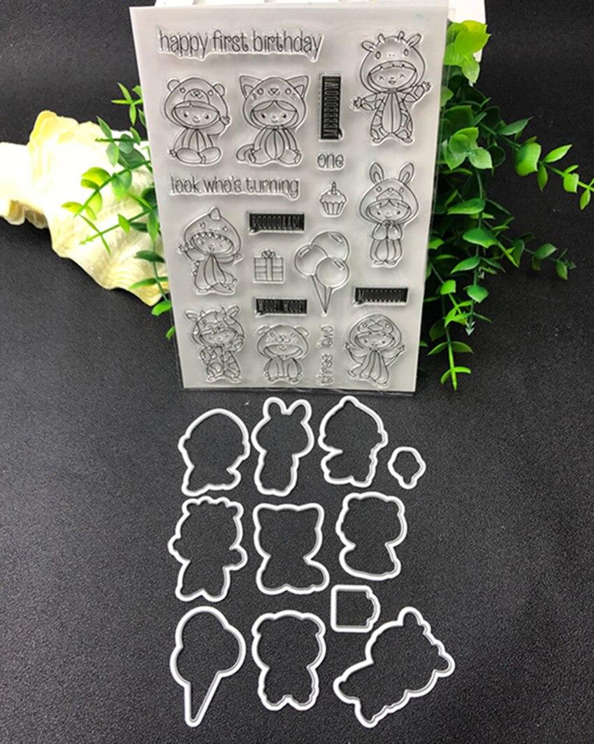 Joyeux premier anniversaire En Métal De Coupe Meurt et timbre Pochoirs pour le BRICOLAGE Scrapbooking/photo album Décoratif Gaufrage BRICOLAGE Papier Cartes
