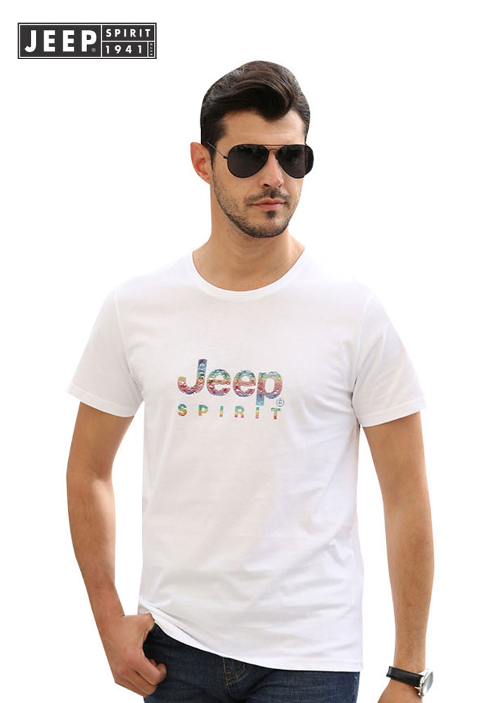 JEEP Brand Men Clothes 2019 Summer Mens Tops Tees Cotton T Shirts Smart Casual Short Sleeve Letter T Shirt High Quality T Shirt