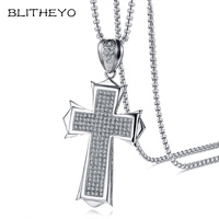 BLITHEYOAAA CZ Stone Large Cross Pendant For Men Necklace Top Quality Stainless Steel Curb Chain Rocky