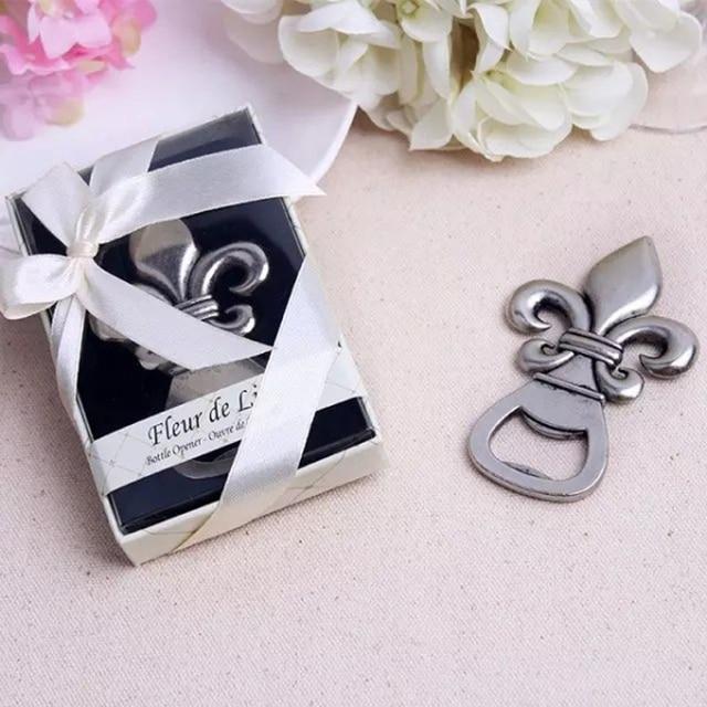 100pcs Lot Wedding Giveaways For Guest Exquisite France Fleur De Lis Pewter Finish Bottle