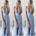 Summer Chiffion Dress Women Sexy Beachwear Clothes V-Neck Sling Strapless Party Dress Light Blue Fashion Vestido High Quality