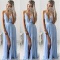 Summer Chiffion Dress Women Sexy Beachwear Clothes V-Neck Sling Strapless Party Dress Light Blue Fashion Vestido High Quality
