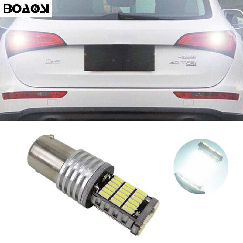 BOAOSI 1x 1156 BA15S P21W Canbus NO Error 4014SMD Cree Chips LED Rear Reversing Tail Light Bulb For AUDI S3 A4 S4 RS4 A6 RS6 2 for volkswagen vw golf mk2 mk3 mk4 mk5 1156 p21w canbus error free 12v for cree chips led car reverse bulb rear light white