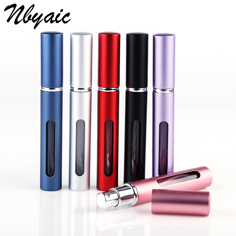 1Pcs 4ml Metal Slim Window Aluminum Perfume Bottle Cosmetics Bottled Portable Mini Empty Bottle Liner Glass Multicolor Optional