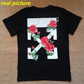 High Quality Mens OFF-WHITE T-Shirt Male 100% Cotton Rose Printed Black OFF White T Shirts Fashion Casual New Men Top Tee M-XL