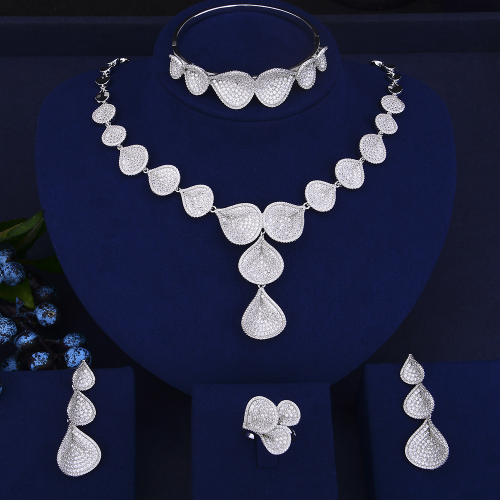 4 PCS Fashion Teardrop Shape Collar Necklace Earrings Bracelet Ring Jewelry Sets Cubic Zirconia Wedding Jewelry Sets For Women viennois new blue crystal fashion rhinestone pendant earrings ring bracelet and long necklace sets for women jewelry sets
