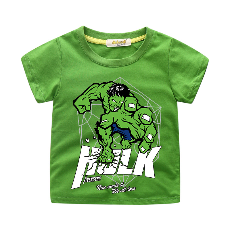 Children Cartoon Hulk Print T-shirt Clothing For Boy Summer Short Cotton Tee Tops Clothes title=