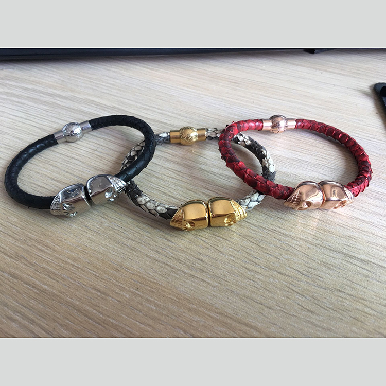 (10pcs)Customize Genuine python leather bracelet,Man Black Skull blue leather bracelet with northskull stainless steel clasp