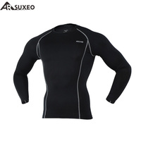 2015 ARSUXEO Compression Tights Base Layer Men Running Long Sleeves Shirts Bodybuilding Fitness Clothing C19