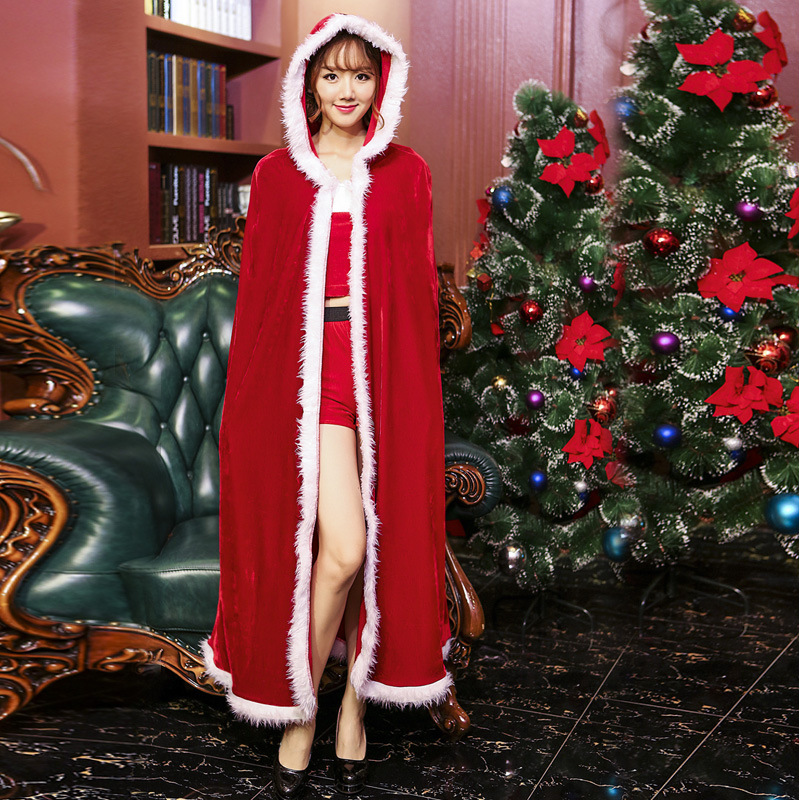 Velvet Red Hooded Christmas Cloak Costumes Cosplay For Woman Christmas Cape Party Cosplay
