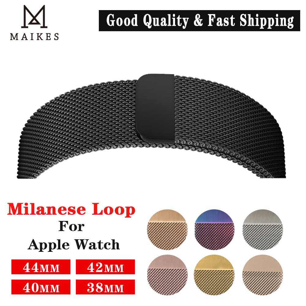 MAIKES Milanese Loop Apple Watch Band 4 44mm Metal Watchband For Apple Watch Bands 42mm Stainless Steel Iwatch Strap 40mm 38mm