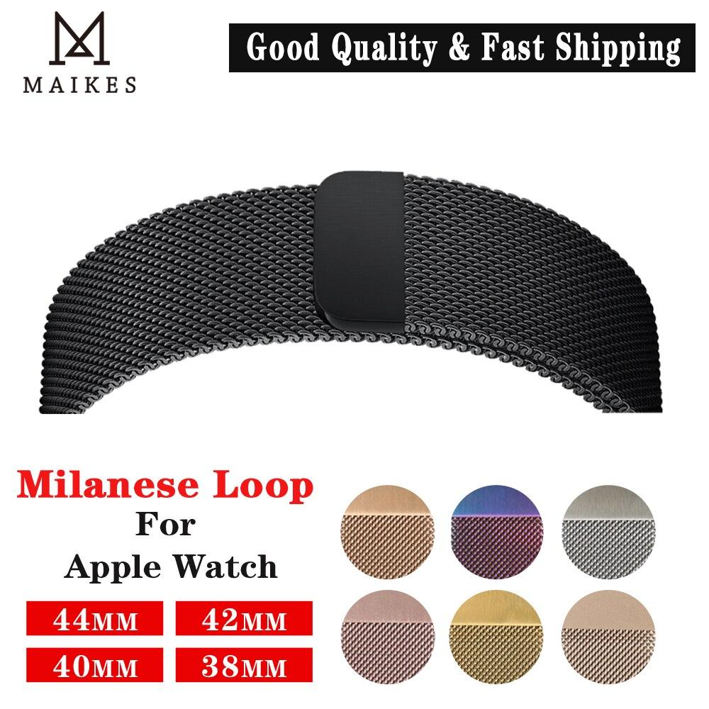 Maikes milanese loop apple relógio banda 4 44mm metal pulseiras de relógio para apple 42mm aço inoxidável iwatch cinta 40mm 38mm